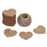100 PCS Heart Shape Kraft Paper Gift Tags Kraft Hang Tags Bonbonniere Favor Gift Tags With