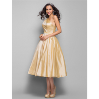 TS A-Line Prinzessin Fit & Flare Tee Länge Taft Cocktail Party Homecoming Prom Kleid mit Schärpe Side Drapieren