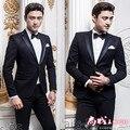 (Jacket + pants) hombres traje Negro trajes de hombre Coreano delgado traje de novio de la boda vestido de ropa de la etapa de estudio bailarín del cantante mostrar