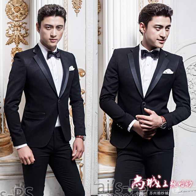 (Jacket +pants)male costume Black men's suits Korean slim suit groom wedding dress stage clothing studio singer dancer show