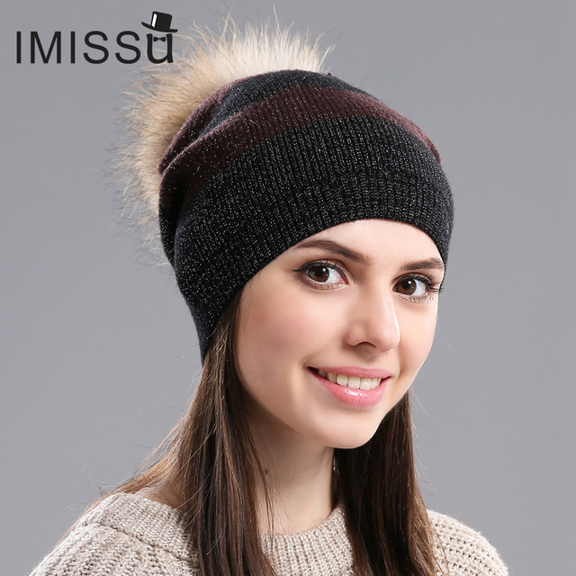 IMISSU Autumn Winter Beanies Women's Winter Hats Knitted Wool Skullies Casual Hat with Raccoon Fur Pom Pom Gorros Cap Casquette
