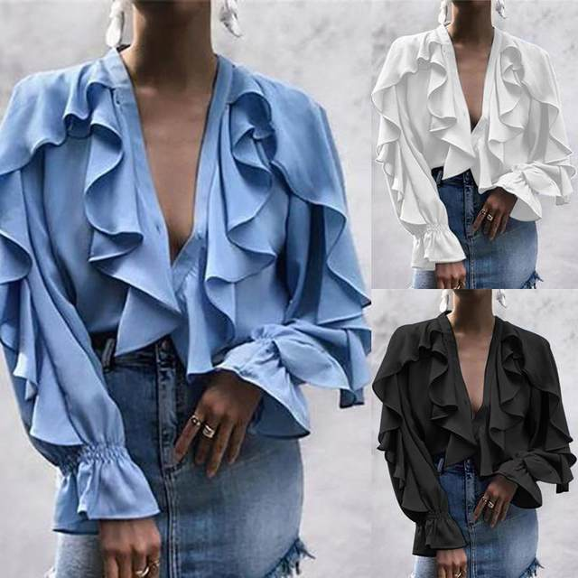 Celmia Stylish Tops Summer Ruffled Blouse Women Sexy V neck Long Sleeve Shirts Female Casual Buttons Street Blusas Plus Size 5XL 14