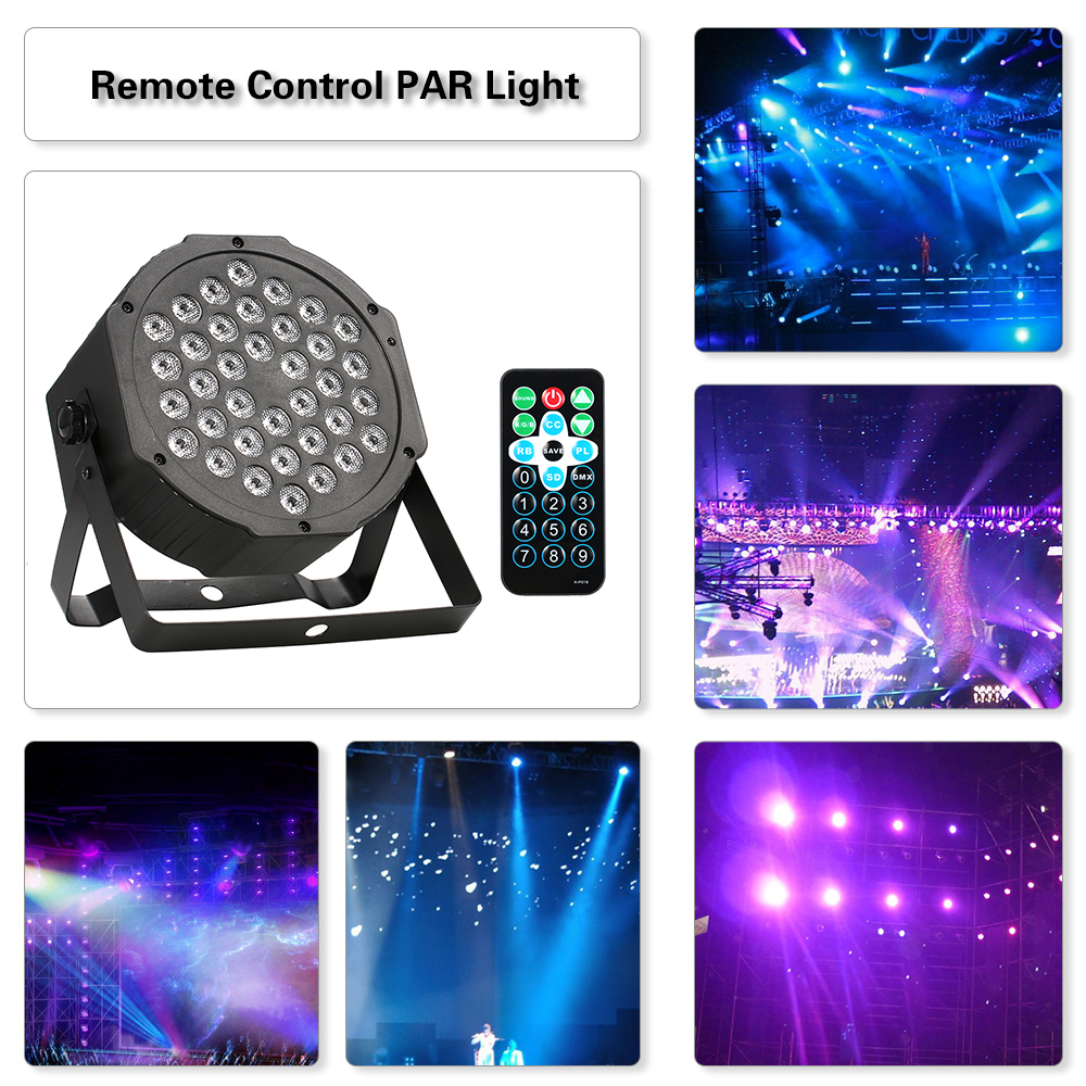 Remote Control Party DiscoLight 36LED 36W 7Channel Mini High Bright PAR Light RGB Wash Effect Stage Lamp DMX512 Sound Activation