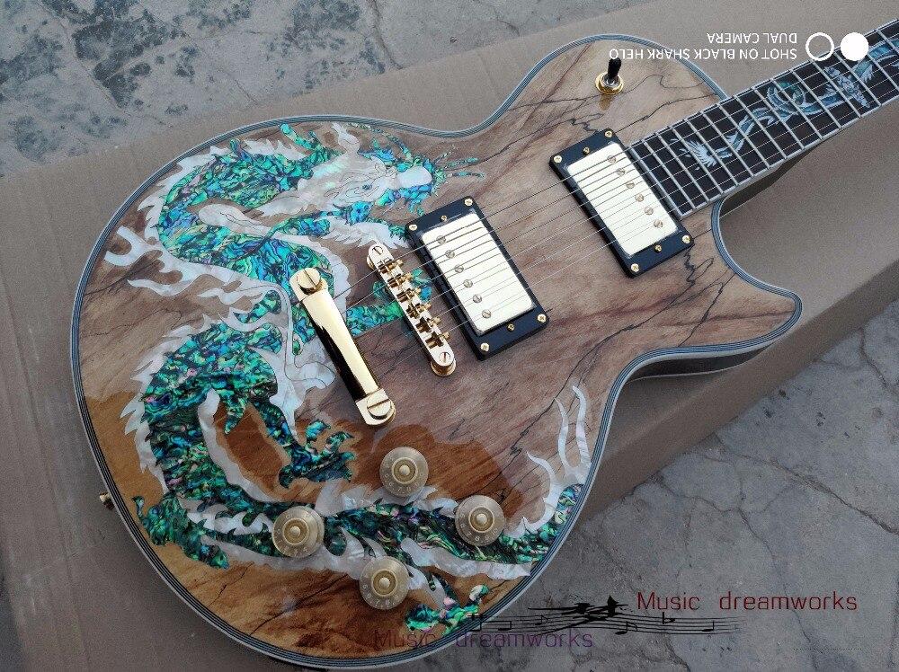 Clavier incrusté de dragons d'érable spalted de guitare électrique de magasin d'oem firehawk de la chine et la coquille naturelle d'ormeau de corps
