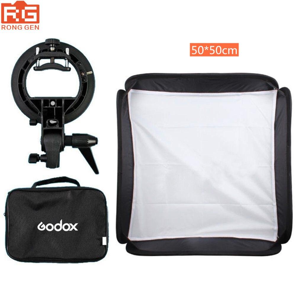 Godox 50x50 cm Softbox + support de Type S Bowens + Kit de sac pour Flash caméra