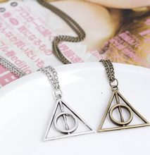 Harry Potter Hourglass Hogwarts School Badge Magic Wand Pendant Necklace
