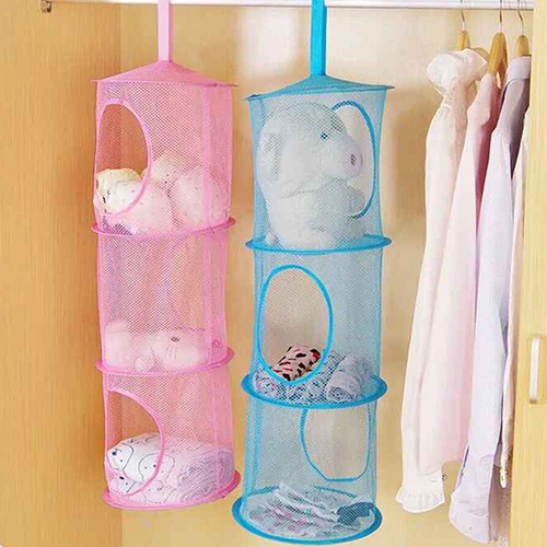 3 Compartments Foldable Hanging Mesh Space Bags Organizer Toy Storage Basket