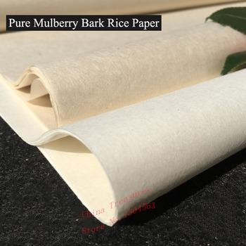 10 arkuszy partia bardzo cienki czysty papier z kory morwy chiński papier ryżowy Calligrpahy malarstwo Xuan papier ręcznie robiony Xuan Zhi semi-raw tanie i dobre opinie Mian Gen CN (pochodzenie) Pure Mulberry Bark