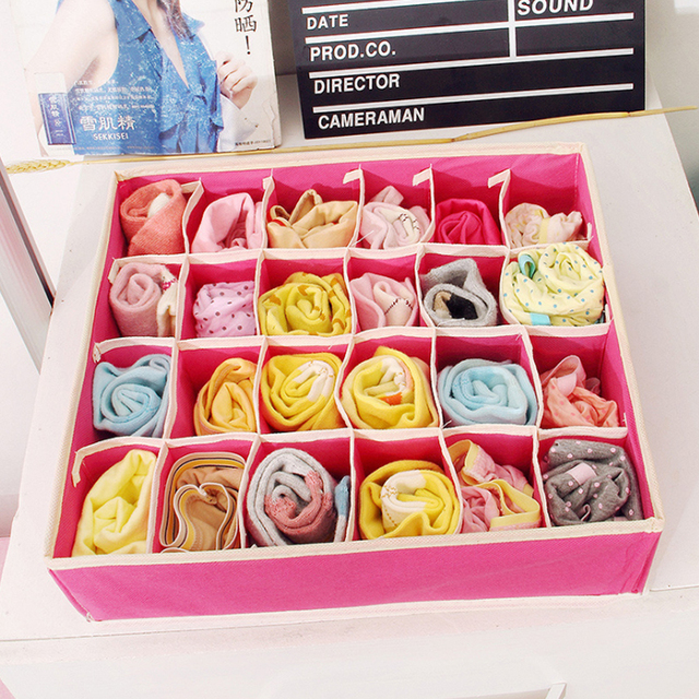 Multi-size Bra Underwear Organizer Foldable Home Storage Box Non-woven Wardrobe Drawer Closet For Scarfs Socks 3