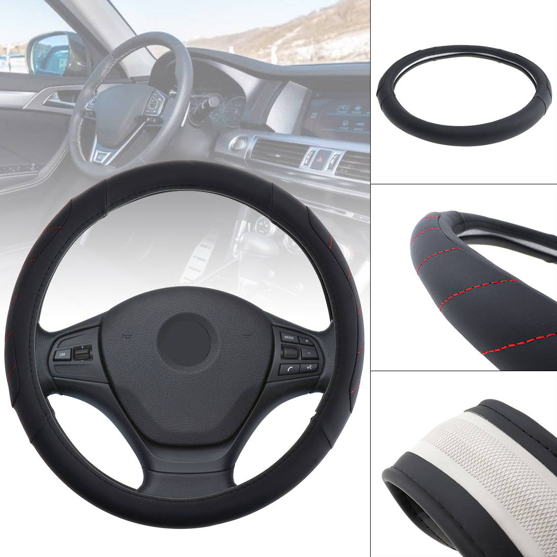 38 CM Leather Car Steering Wheel Cover Soft Anti-Slip Steering Cover steering-wheel cubre funda volante coprivolante