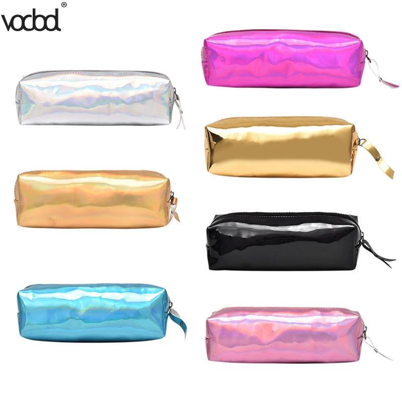 Fashion Shining Laser Pencil Case Quality PU Makeup Holder Purse Bts Stationery Gift Pencilcase Cute Pen bag Box School Supplies Пенал