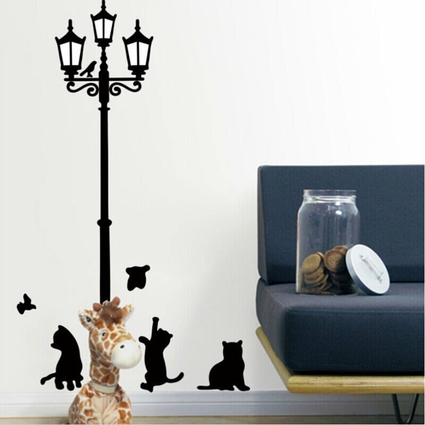 Cute black lamp cat wall stickers home decor removable living room wall pictures cartoon ...