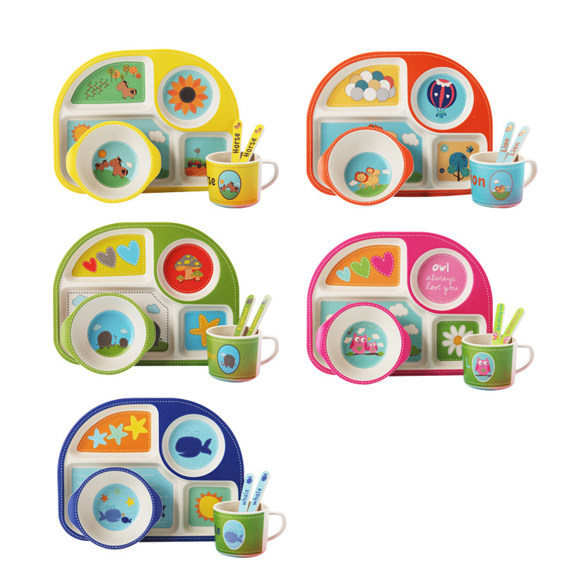 New 5pcs/set Baby Dinnerware Bamboo Fiber Children Tableware Set Plate Dishes Bowl With Spoon Cartoon Feeding Set Food Container|Dishes| |  - title=