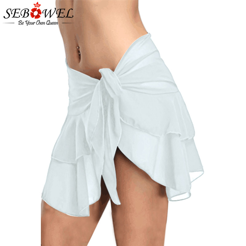 SEBOWEL <font><b>Sexy</b></font> White/Black Ruffled Mesh Mini Skirt Women 2018 Side Tie Skirted Hipster Bikini Bottoms Biquini Parte Inferior Skirt image