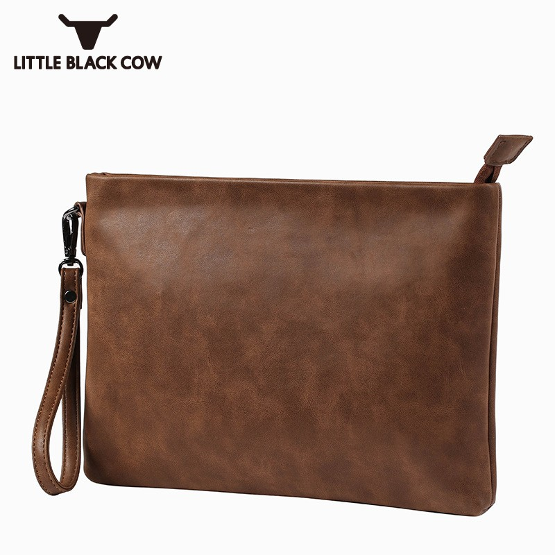 Fashion Runway Mens Business Envelope Cluth Bag Pu Leather File Packet Office Work Handbag Softshell Laptop Packing Male Bag