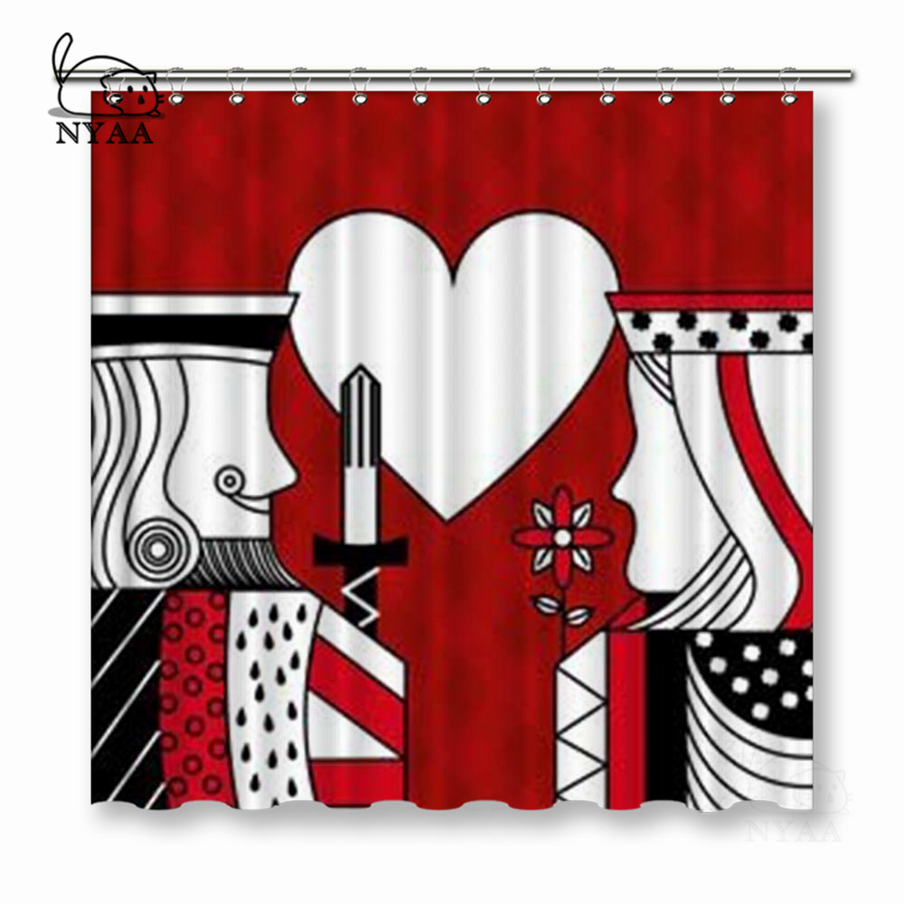 NYAA Casino Poker Queen And King Heart Card Game Red Checkered Background Shower Curtains Polyester Fabric