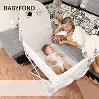 Портативный новорожденных детская кровать Multi Функция складной путешествия маленький Bb с Москитная сетка Сращивание прикроватной тумбочк