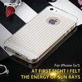 Roca original fla serie de moda de lujo caja del diamante para el iphone 5s 5 se sofe tpu translucence cubierta protectora de vuelta