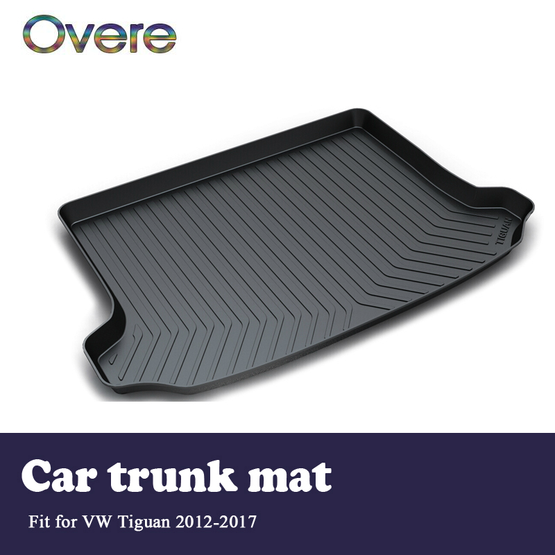 Overe 1Set Car Cargo rear trunk mat For VW Tiguan 2012 2013 2014 2015 2016 2017 Boot Liner Waterproof Anti-slip mat Accessories overe 1set car cargo rear trunk mat for audi a1 2012 2013 2014 2015 2016 2017 liner tray waterproof anti slip mat accessories