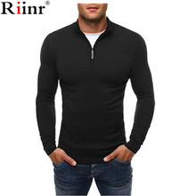 Riinr Autumn New Sweater Men High Quality Casual Cotton Blends Pullover Knitted Zipper Slim Fit Men's Turtleneck Solid Color Top