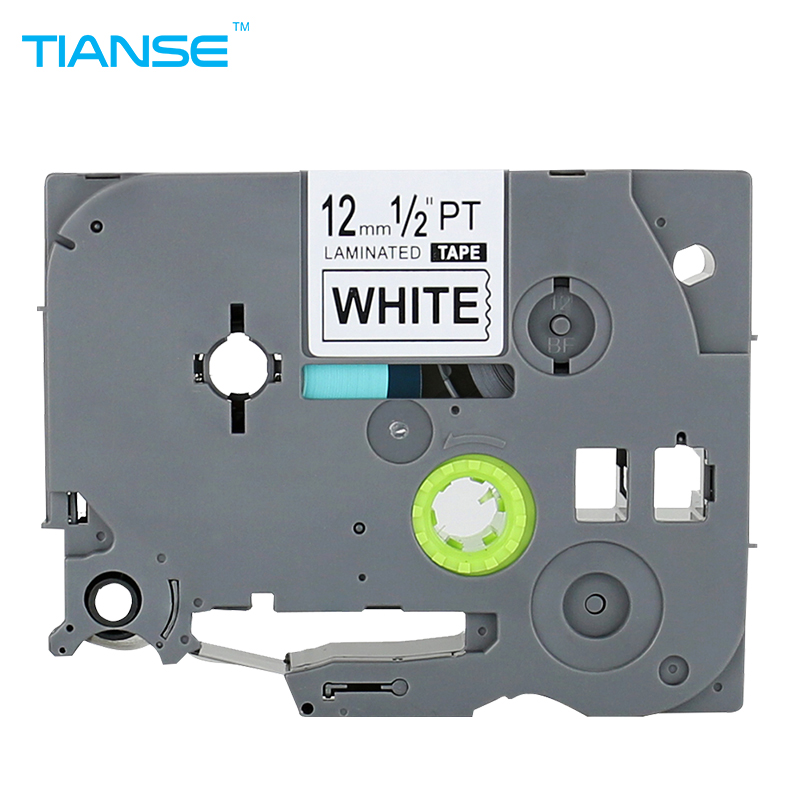 TIANSE 1pcs TZe 231 Black on White Label Tape for Brother Tze231 TZ-231 p-touch 12mm x 8M tz231 tze-231 tz Ptouch printer ribbon