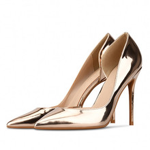High Quality Handmade Hot Patent Leather Thin High Heel Pumps Gold Sliver Pointed Toe Stiletto Heels New Ladies Shoes J0007 цена в Москве и Питере