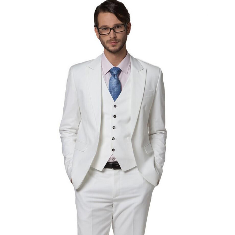 Online Shop Elegant White Groom Tuxedos Peaked Lapel Slim Fit Cool ...