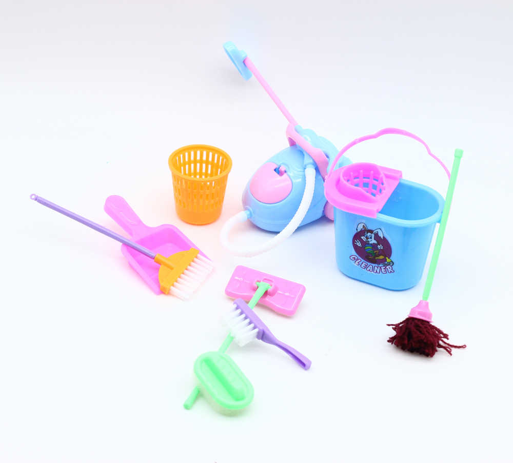 1 ชุด 9 pcs มินิตุ๊กตาอุปกรณ์ตุ๊กตาครัวเรือนทำความสะอาดเครื่องมือสำหรับ 1/6 ตุ๊กตา BJD ตุ๊กตาเด็กของเล่นเพื่อการศึกษา