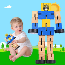 Wooden robot puzzle tranformation car early education action figure toys for Children kids birthday gift cool