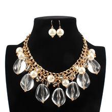 Модное ожерелье цепочка с бусинами и кулоном Ожерелье серьгами