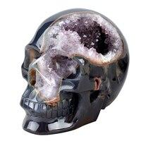 Огромный 6,2 ''Резные натуральный агат Geode Кристалл череп Рейки Исцеление скульптура как рождественский подарок фэн шуй домашний декор книги