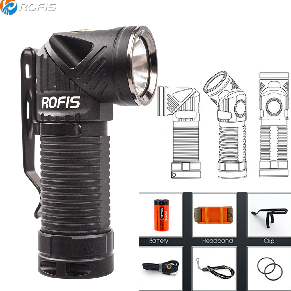 Rofis R1 Adjustable head Flashlight CREE XM L2 U2 max 900 lumen outdoor torch USB Magnetic Charging headlight with 14500 battery-in Flashlights & Torches from Lights & Lighting    1