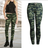 Women S S 5XL Plus Size Chic Camo Army Green Skinny Jeans For Women Femme Camouflage