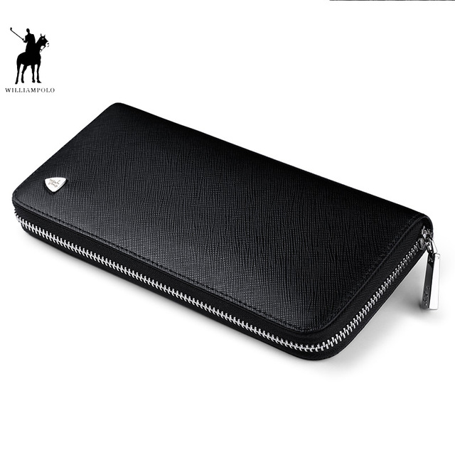 WILLIAMPOLO New fashion men long wallet genuine leather purse handbags for male luxury brand  zipper men clutches pl119