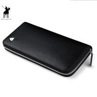 WILLIAMPOLO New fashion men long wallet genuine leather purse handbags for male luxury brand zipper men clutches polo119