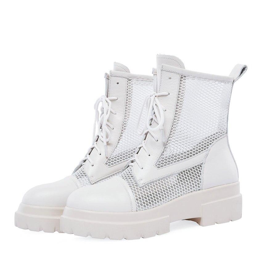 De Taille automne Chaussures Mode Cuir Lace Des Femmes Noir Up forme En 42 Pu Cheville blanc Plate Bottes 34 Vache 2019 Printemps Qutaa Casual Hn7OYY