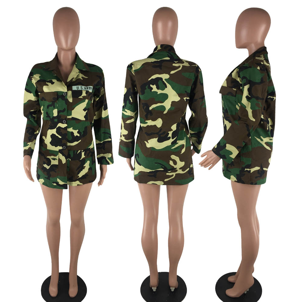 Image 5 - Women Military Camouflage Jacket Hot Green Fatigues Long Coat  Loose Casual Daily Army Battle Jungle Garment ME Q045Jackets   -