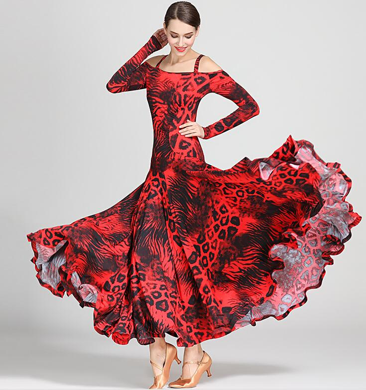 black print ballroom waltz dress rumba Standard social dress Ballroom dance competition dress fringe modern dance