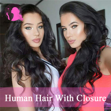 Grace Hair Company Brazilian Body Wave Closure  With Closure 3pcs Hair Weave Bundles With Middle Part Free Part 3 Part Closure