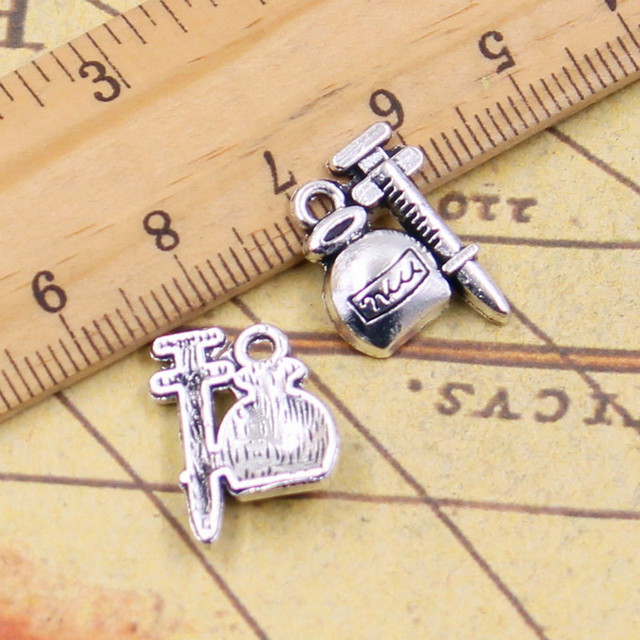 10pcs charms injector medicine doctor 1814mm tibetan silver 10pcs charms injector medicine doctor 1814mm tibetan silver plated pendants antique jewelry making diy mozeypictures Images