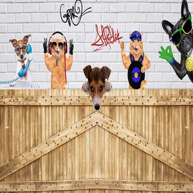Custom Wall Mural Trendy Cute Cartoon Dog Brick Wall Background
