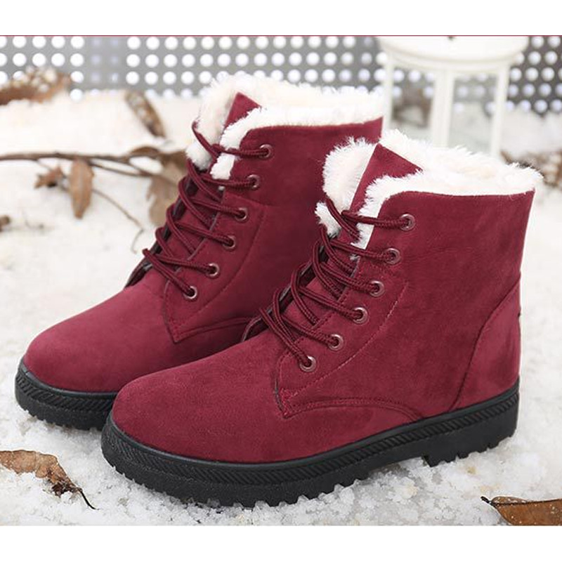 914b6a9ca9b1 women boots Plus cashmere warm Fashion winter snow boots lace female ankle boots  women boots winter casual shoes emu Leggings-in Ankle Boots from Shoes on  ...