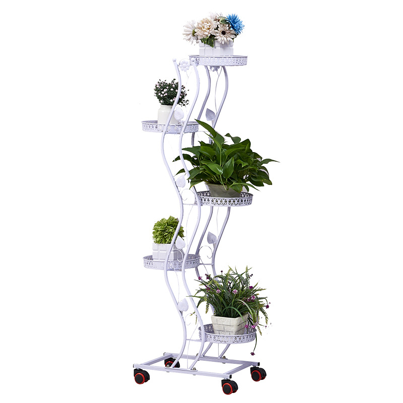 3/4/5 Layers Iron Flower Rack For Living Room Metal Shelves  Flower Metal Stand Indoor Brief Plant Stand With Pulley Nordic