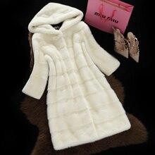 Fur Coat Female Outwear Top Mink Fur Jacket Girl With Hood Long Design Women 2016 Winter Overcoat Thick Warm Size S-6XL
