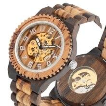 Reloj mecánico para hombre, relojes automáticos de madera, números árabes, relojes de pulsera de madera real, reloj de madera, reloj de lujo