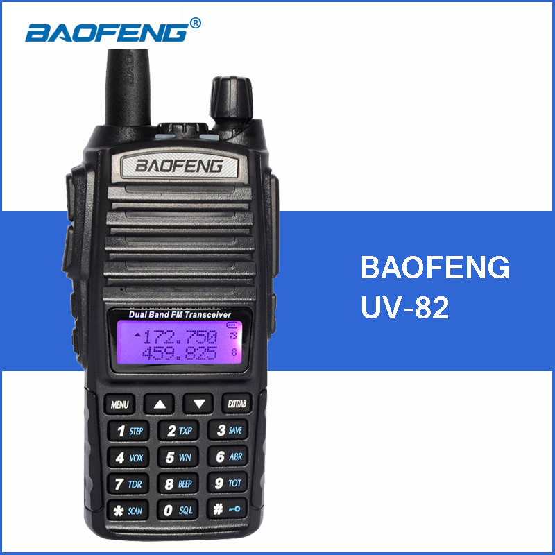 Baofeng UV-82 Talkie Walkie Double PTT UV 82 8D Portable Two way Radio VHF UHF Jambon CB Radio Station UV82 chasse Émetteur-Récepteur