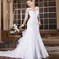 Novo 2016 Custom Made vestidos de noiva elegantes vestidos de noiva sereia do Vintage mangas compridas laço apliques vestidos de noiva
