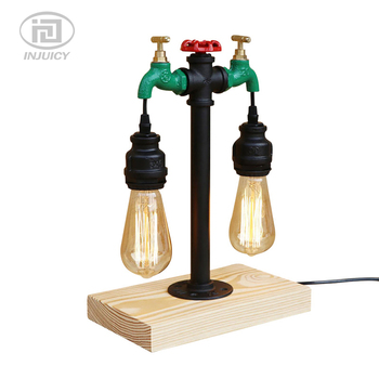 Vintage Style Steam Punk Metal Water Pipe Table Lights American Bar Dining Room Retro Wood Water Faucet Pipe Decorate Desk Lamp
