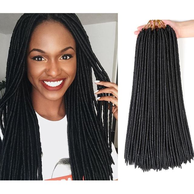 Faux Locs Crochet Hair 18inches Synthetic Braiding Hair 24 Roots
