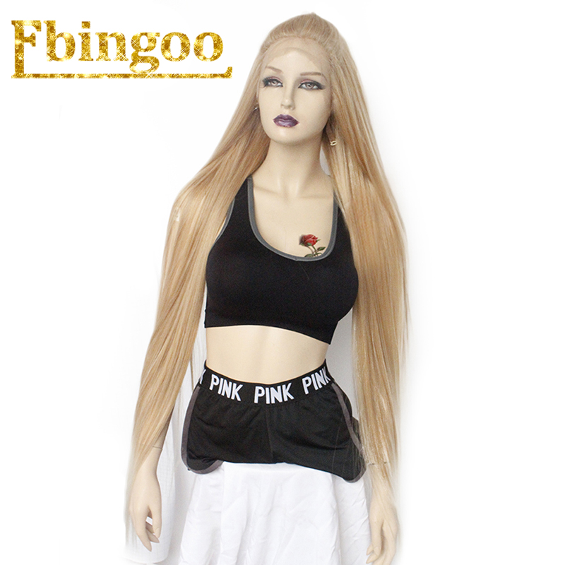 Ebingoo 42 Inch Futura Long Straight Platinum Blonde 613 Mixed Synthetic Lace Front Wig Women s